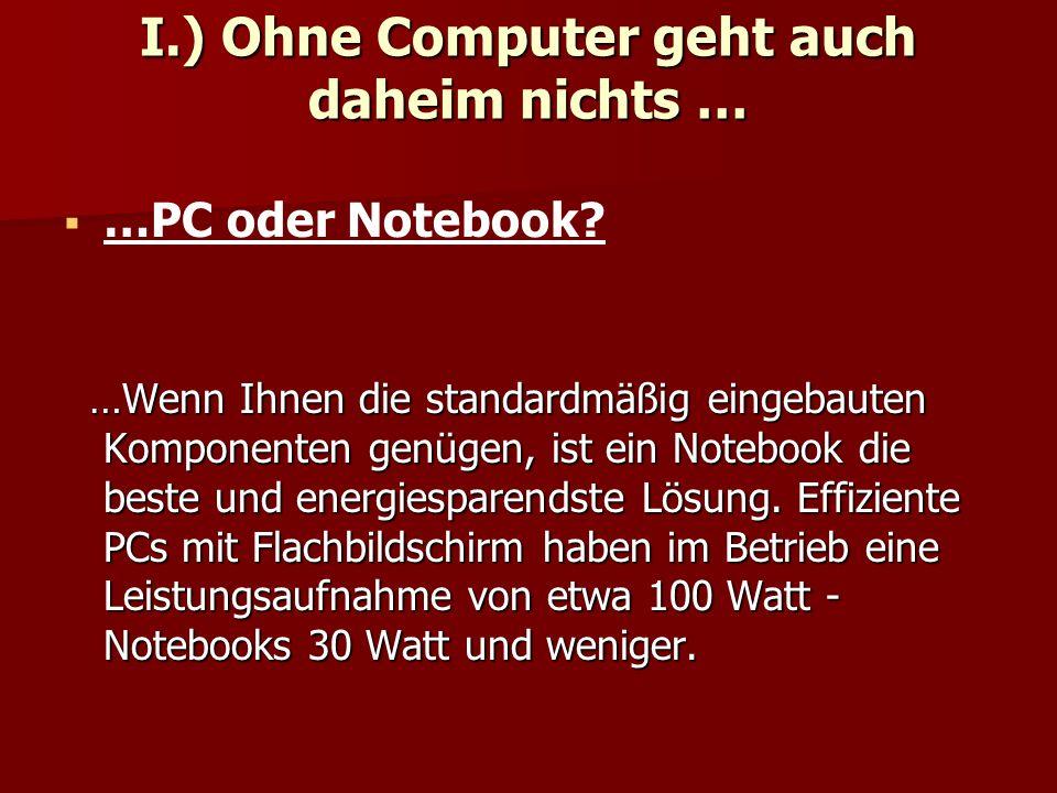 I.) Ohne Computer geht auch daheim nichts …