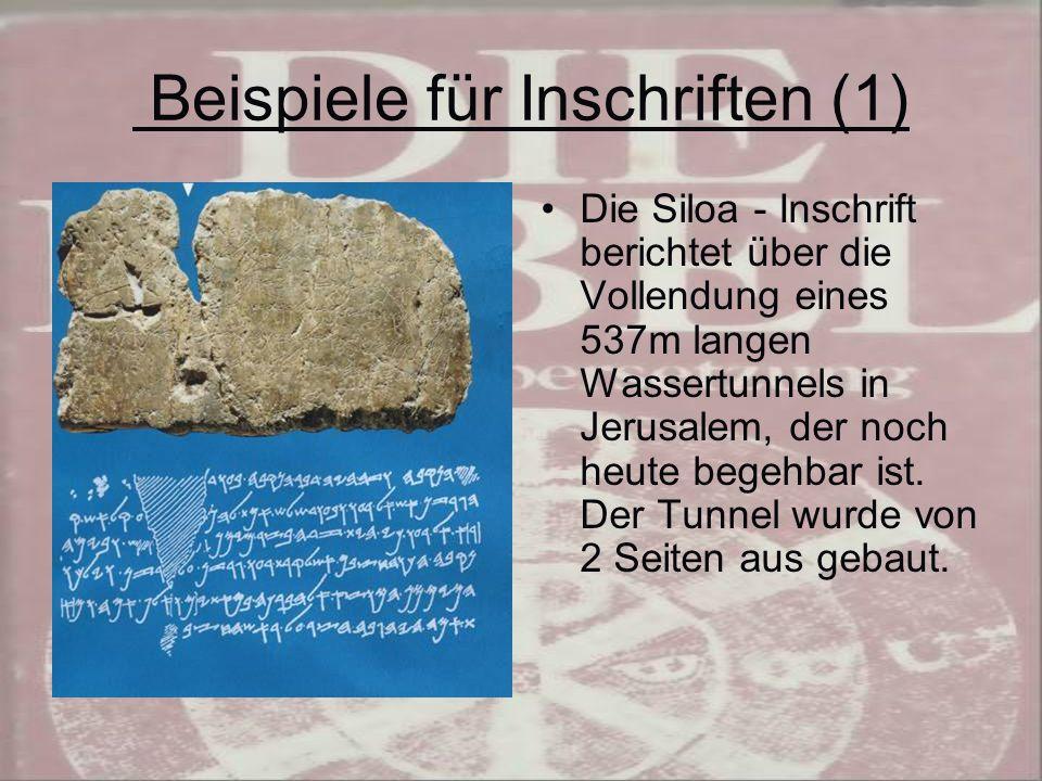 Beispiele für Inschriften (1)
