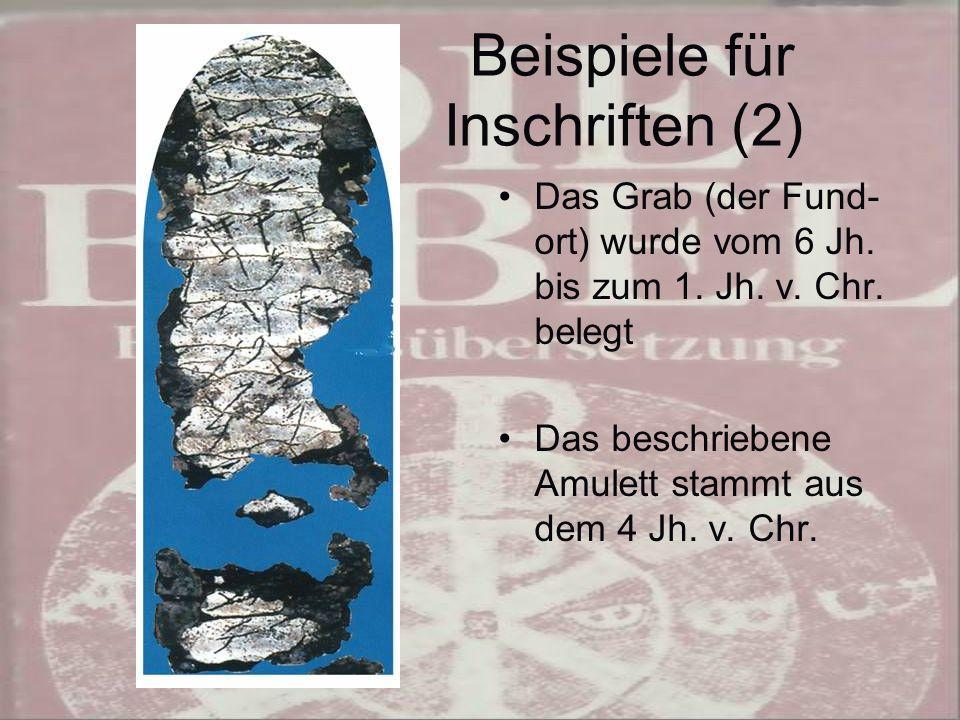 Beispiele für Inschriften (2)