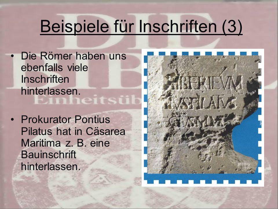 Beispiele für Inschriften (3)