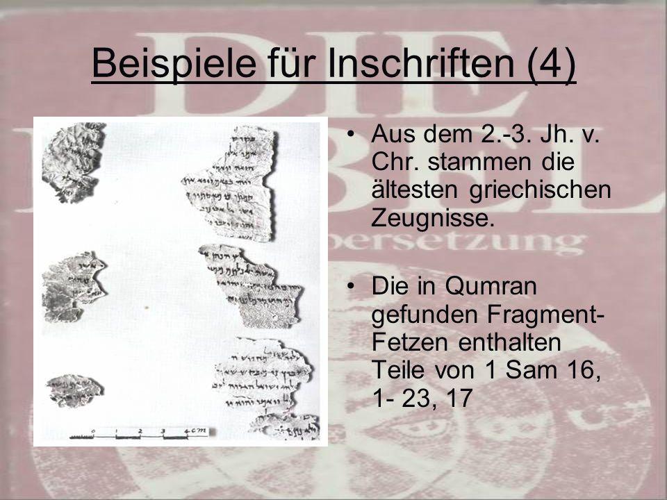 Beispiele für Inschriften (4)