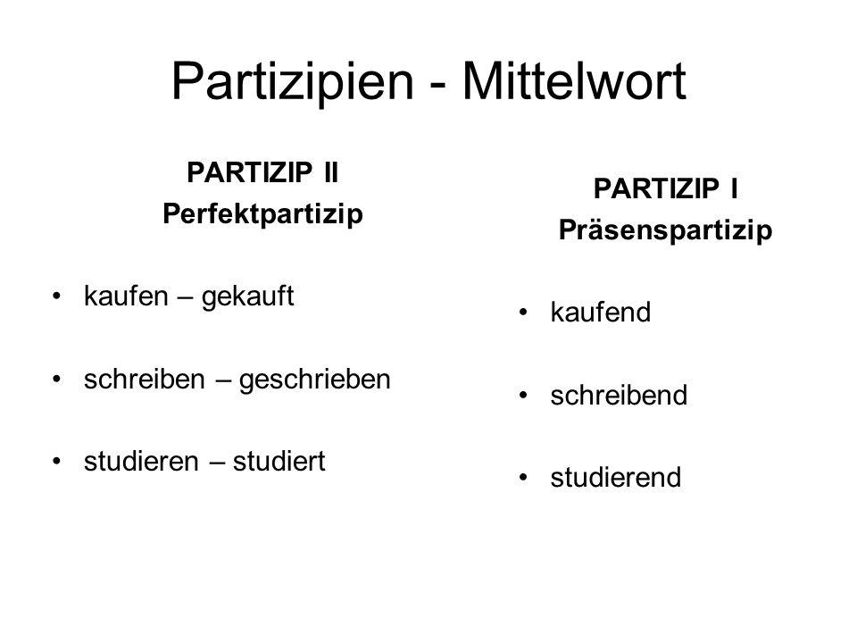 Partizipien - Mittelwort