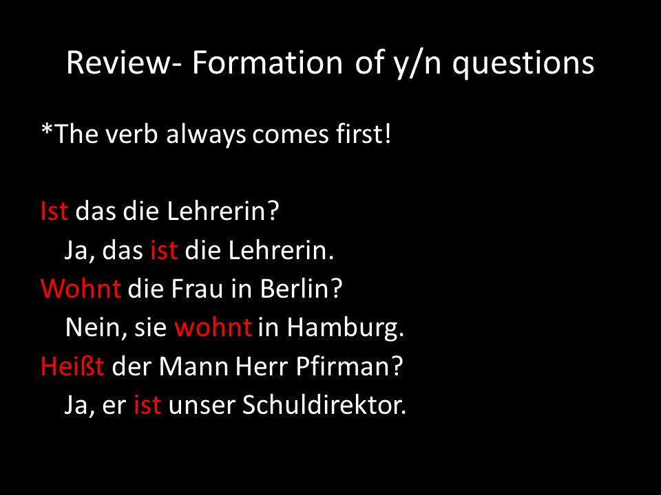 Review- Formation of y/n questions