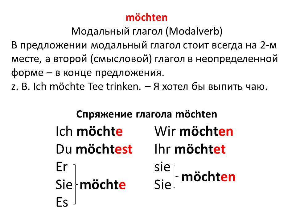 Спряжение глагола möchten