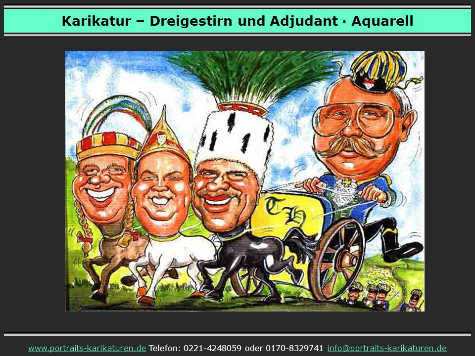 Karikatur – Dreigestirn und Adjudant · Aquarell