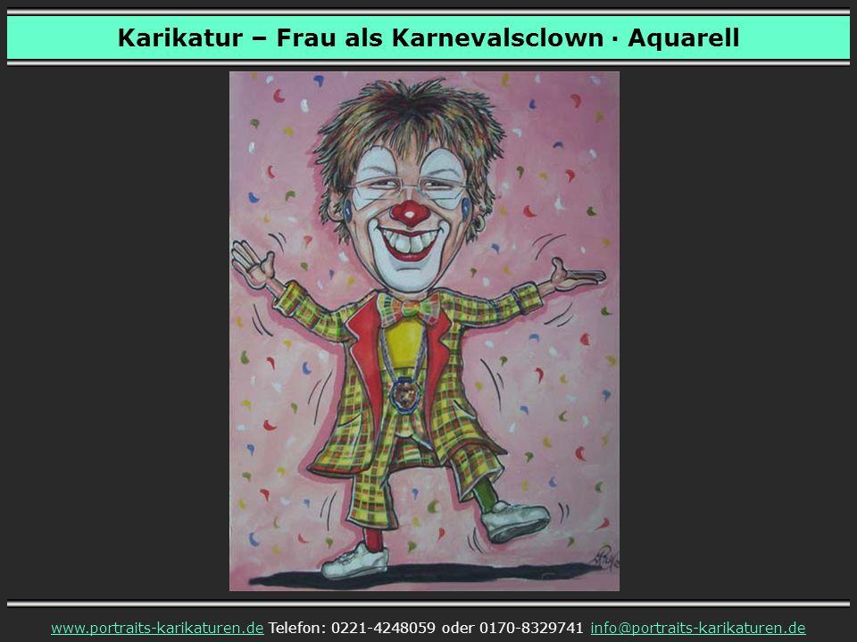 Karikatur – Frau als Karnevalsclown · Aquarell