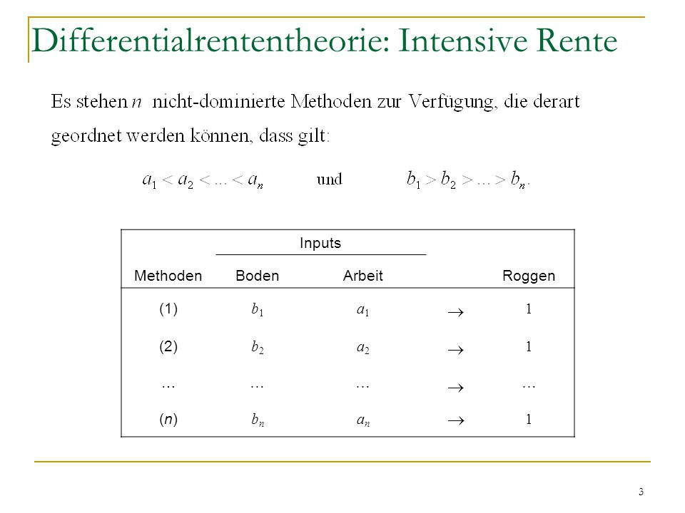 Differentialrententheorie: Intensive Rente