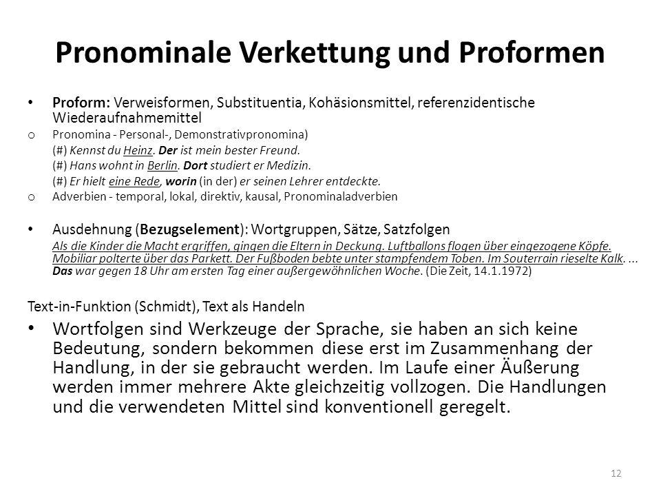 Pronominale Verkettung und Proformen