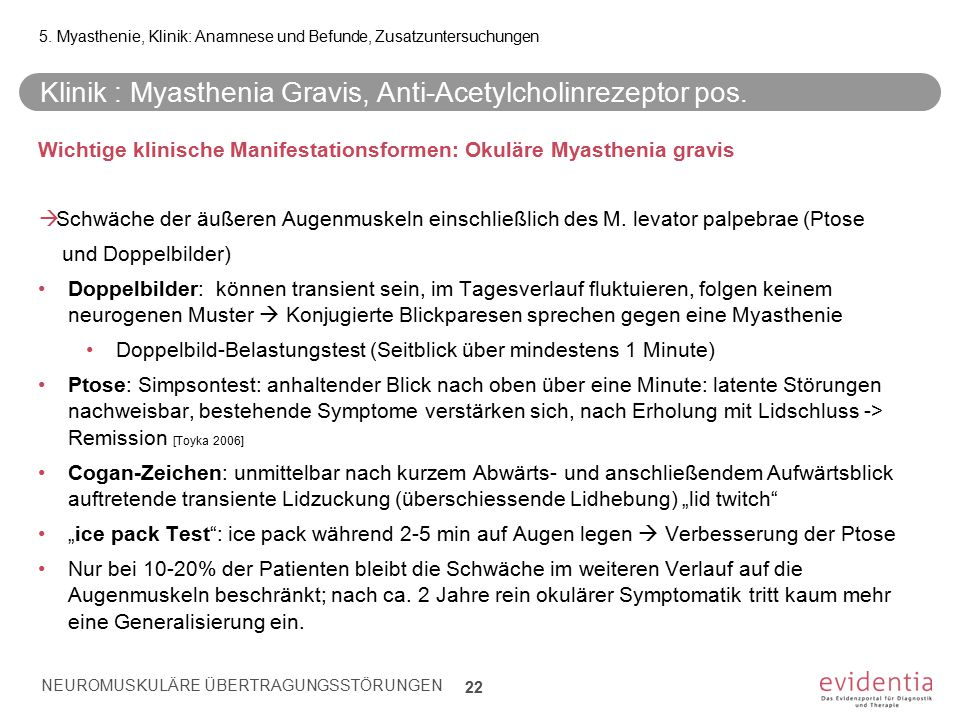 Klinik : Myasthenia Gravis, Anti-Acetylcholinrezeptor pos.