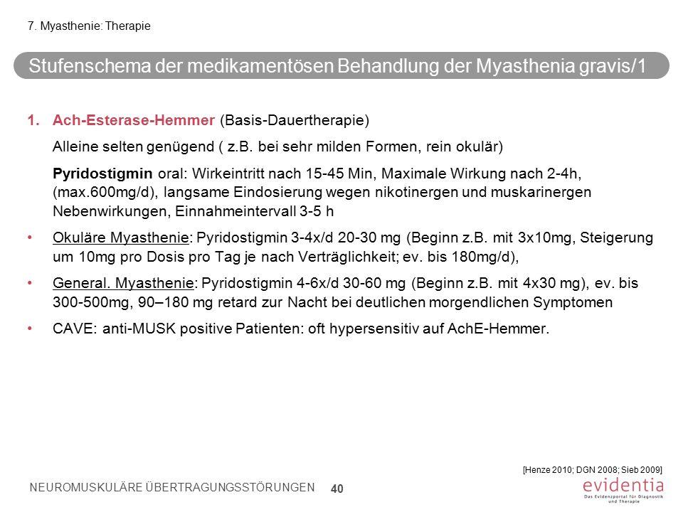 Stufenschema der medikamentösen Behandlung der Myasthenia gravis/1