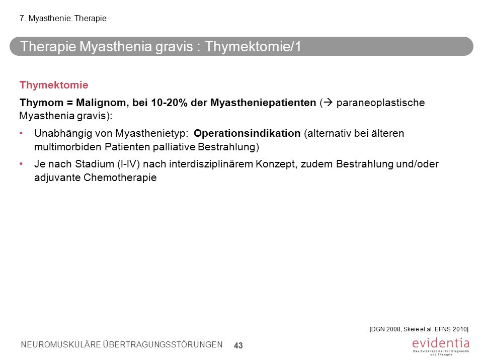Therapie Myasthenia gravis : Thymektomie/1