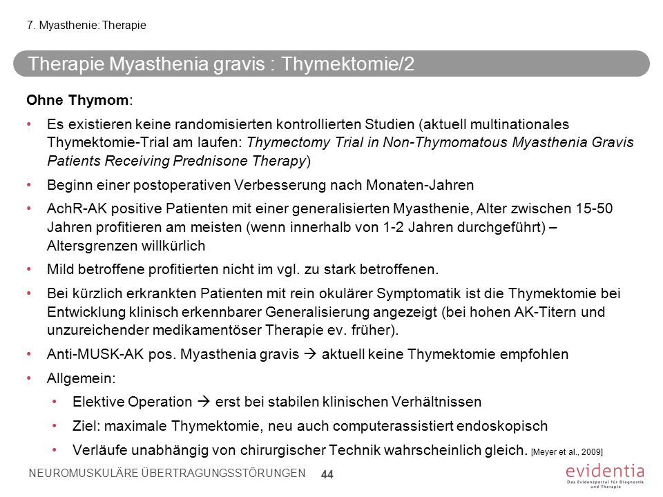 Therapie Myasthenia gravis : Thymektomie/2