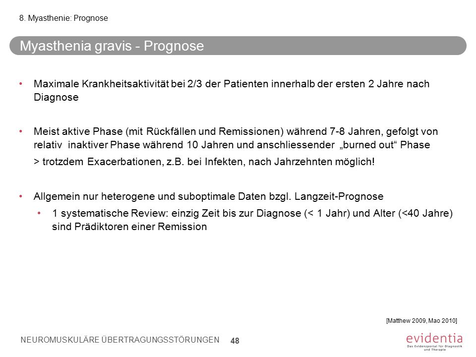 Myasthenia gravis - Prognose