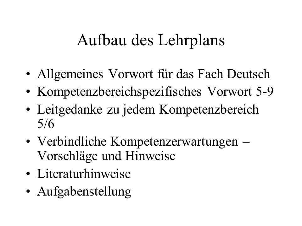 Aufbau des Lehrplans Allgemeines Vorwort für das Fach Deutsch