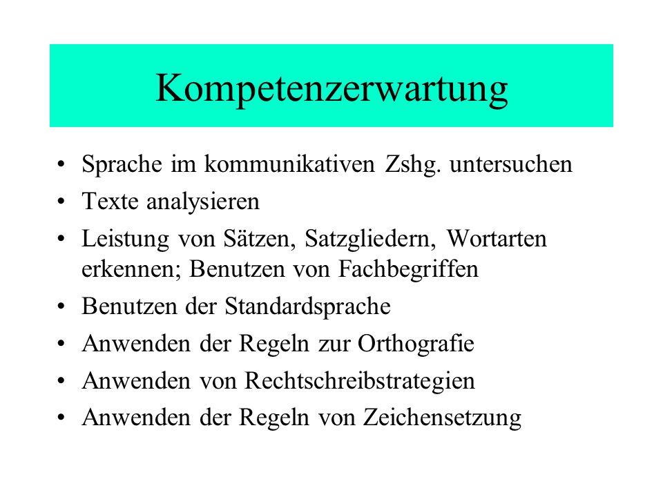 Kompetenzerwartung Sprache im kommunikativen Zshg. untersuchen