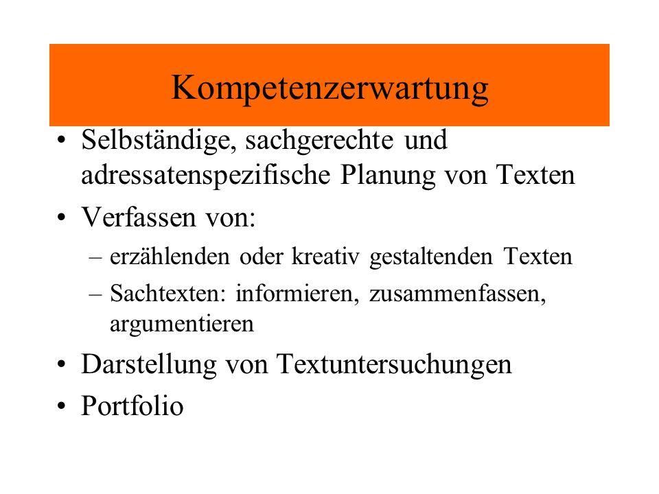 Kompetenzerwartung Selbständige, sachgerechte und adressatenspezifische Planung von Texten. Verfassen von: