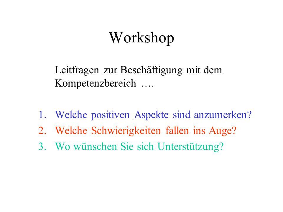 Workshop Leitfragen zur Beschäftigung mit dem Kompetenzbereich ….
