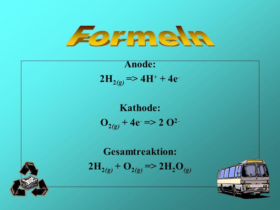 Formeln Anode: 2H2(g) => 4H+ + 4e- Kathode: O2(g) + 4e- => 2 O2-