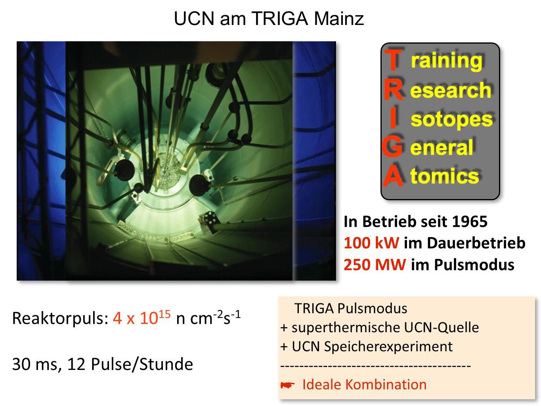 UCN am TRIGA Mainz Reaktorpuls: 4 x 1015 n cm-2s-1