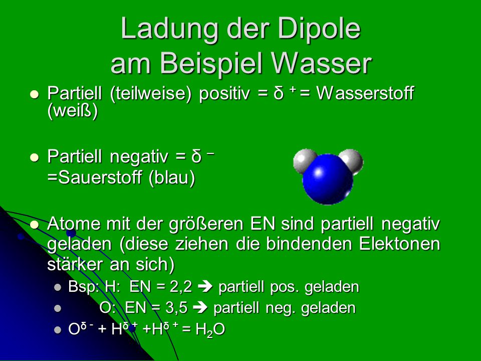 Ladung der Dipole am Beispiel Wasser