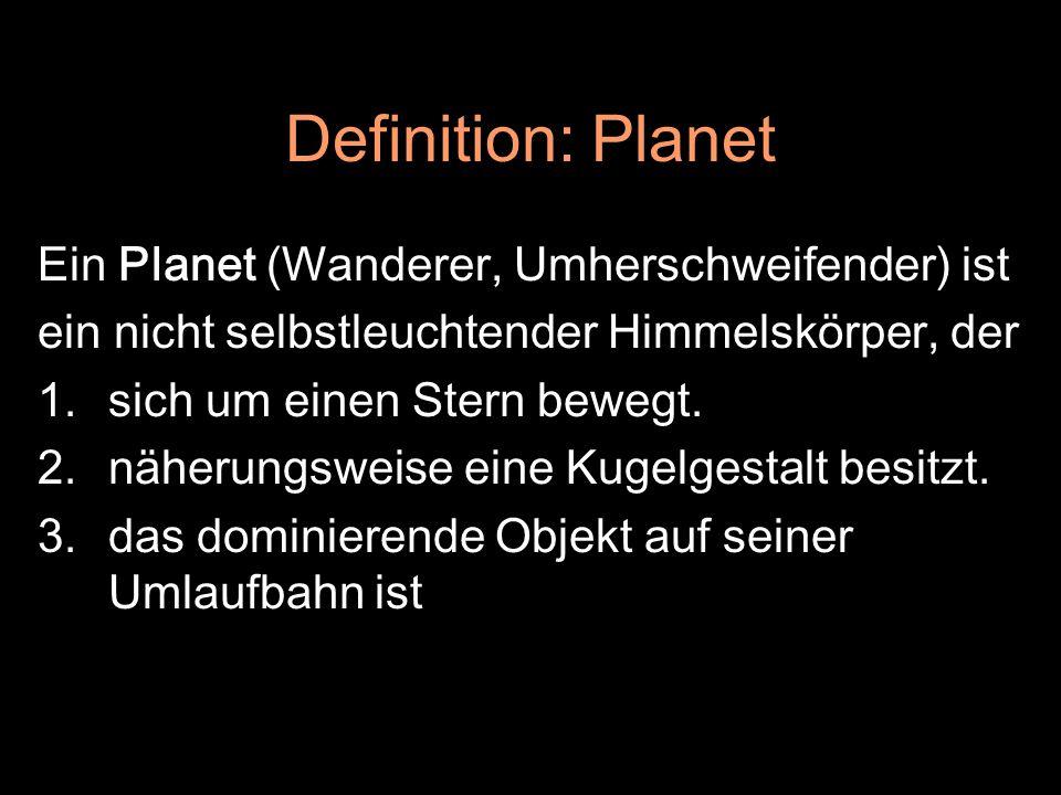 Definition: Planet Ein Planet (Wanderer, Umherschweifender) ist