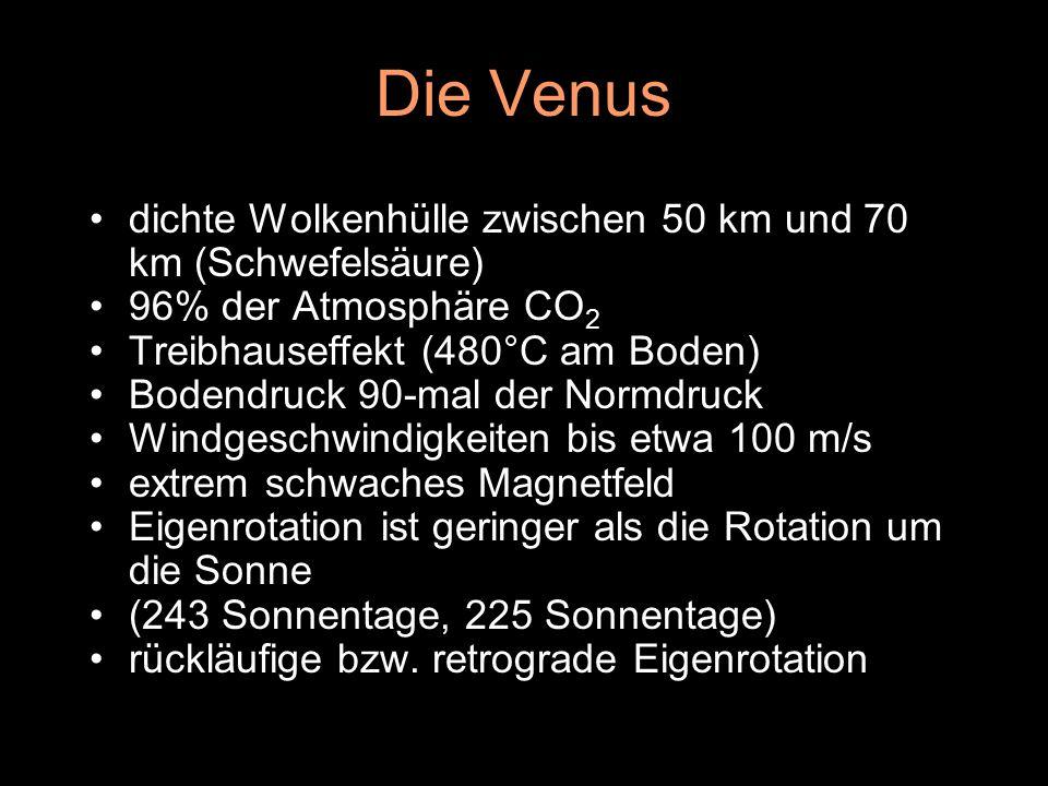 Die Venus dichte Wolkenhülle zwischen 50 km und 70 km (Schwefelsäure)