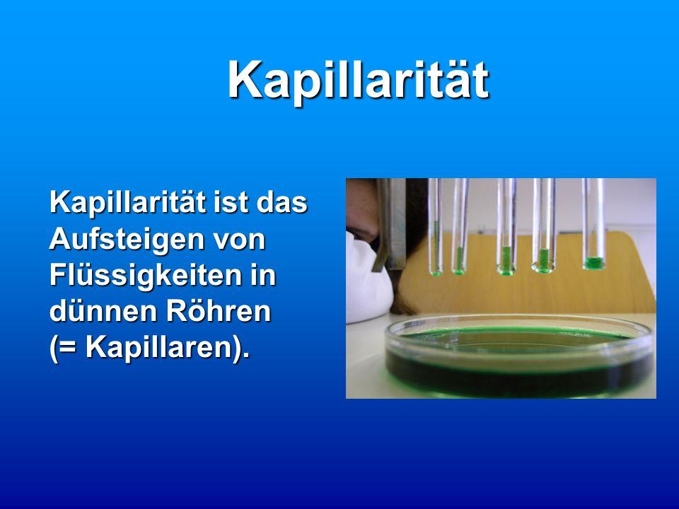 Kapillarität Kapillarität ist das Aufsteigen von Flüssigkeiten in dünnen Röhren (= Kapillaren).