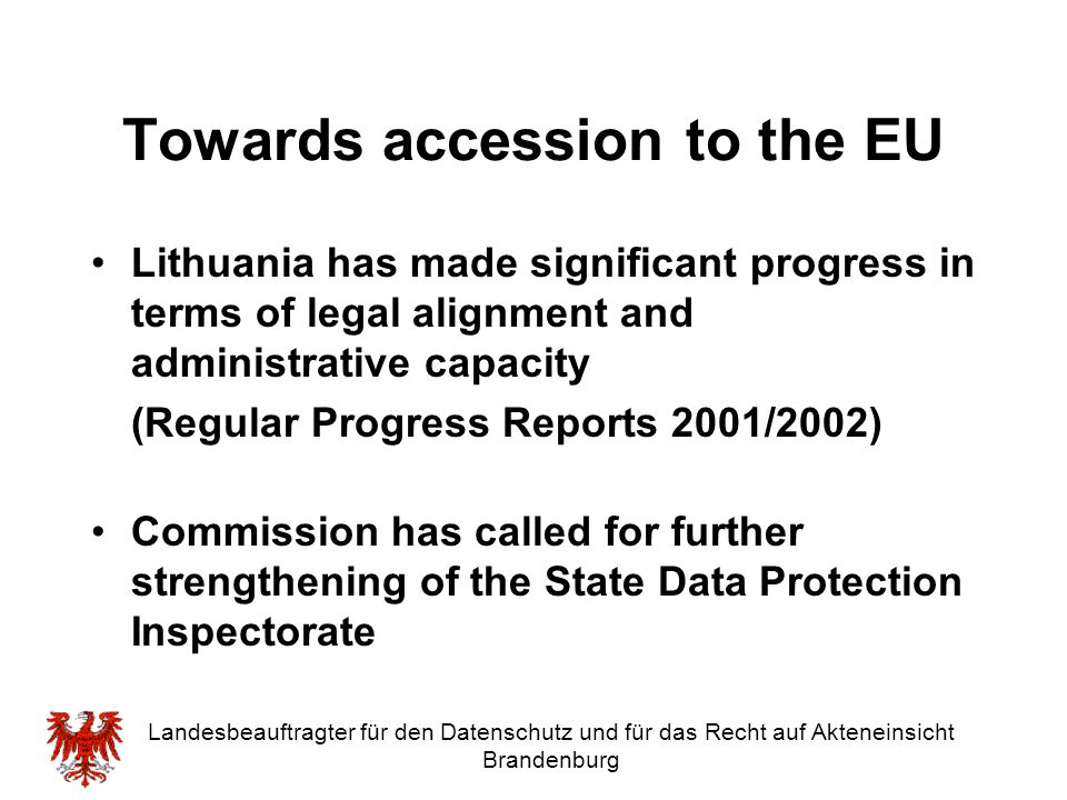 Towards accession to the EU