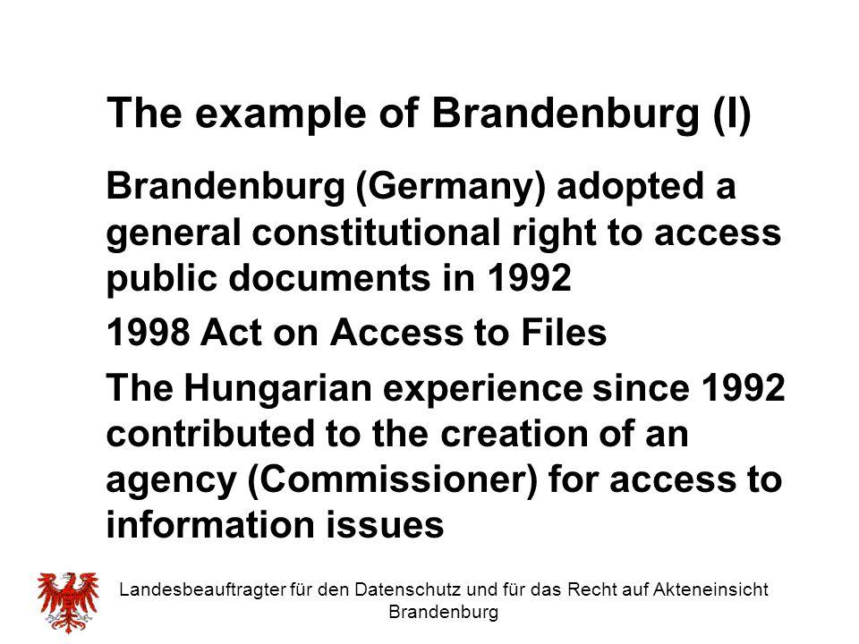The example of Brandenburg (I)