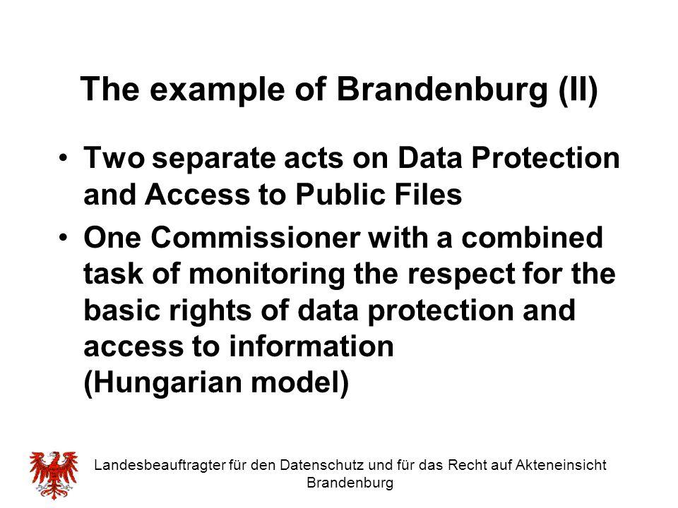 The example of Brandenburg (II)