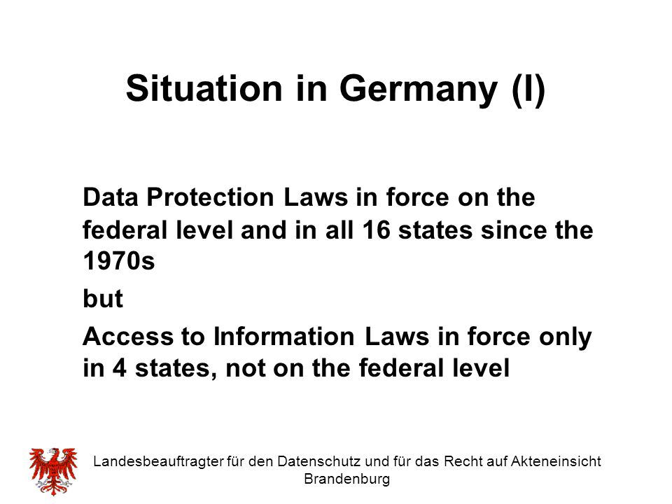 Situation in Germany (I)