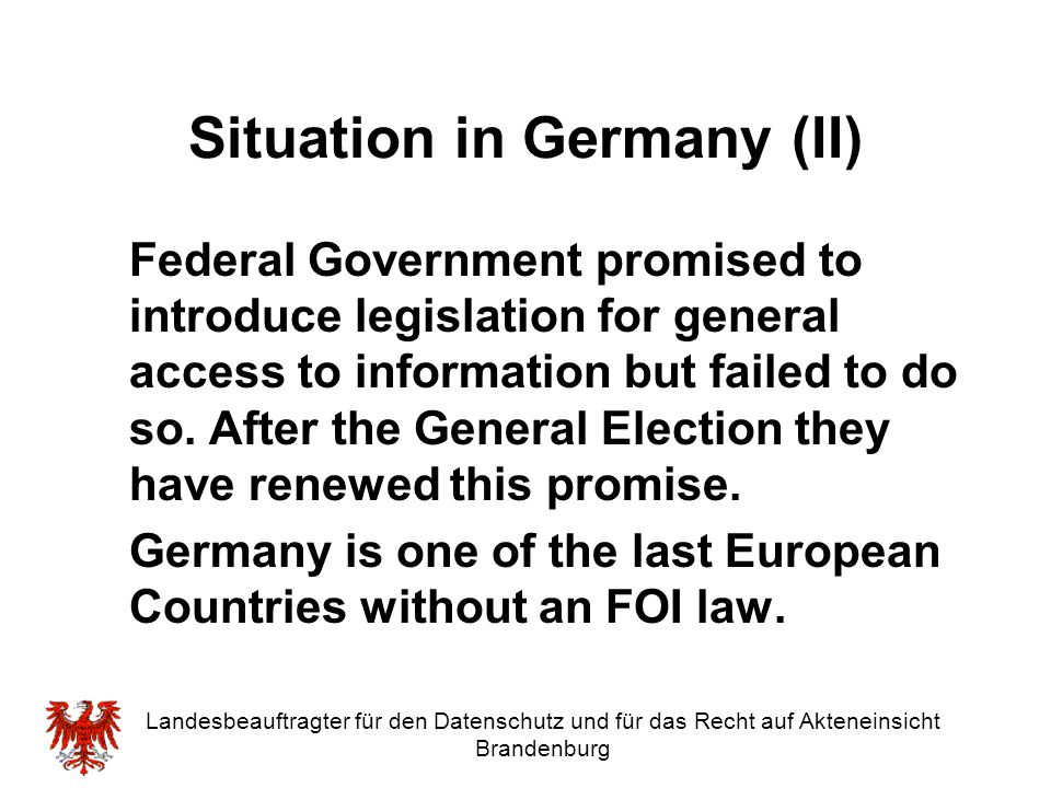 Situation in Germany (II)