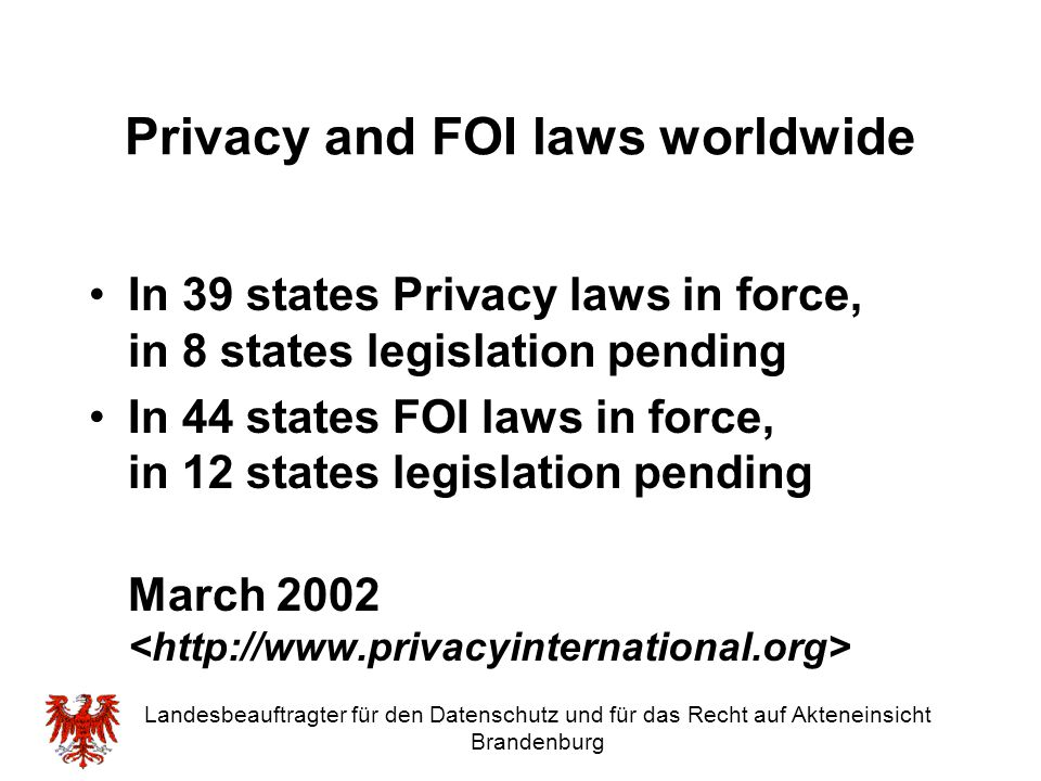 Privacy and FOI laws worldwide