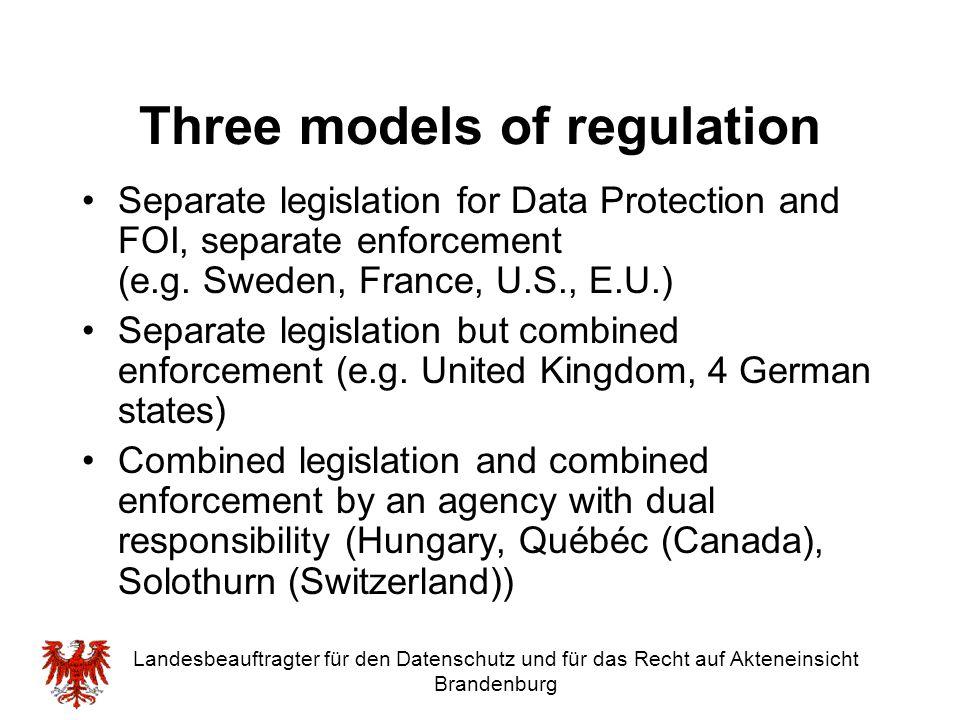 Three models of regulation