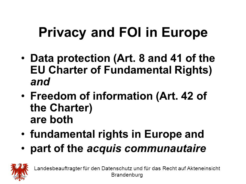 Privacy and FOI in Europe