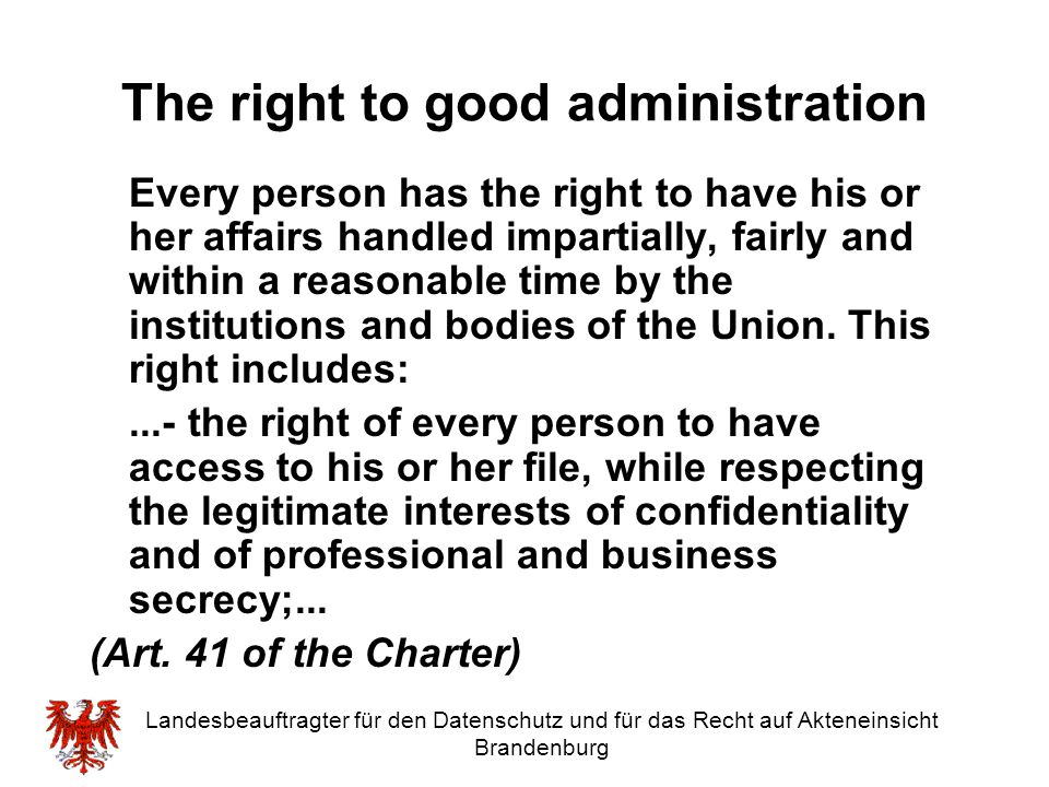 The right to good administration
