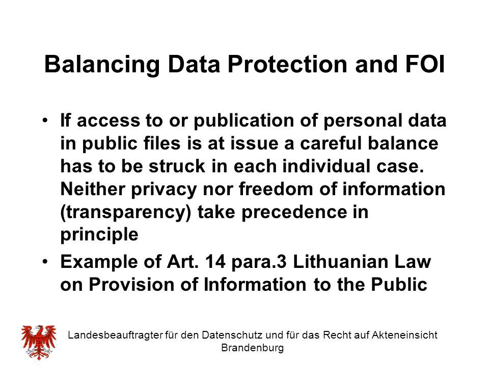 Balancing Data Protection and FOI