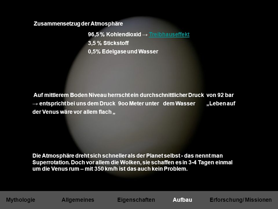 Mythologie Allgemeines Eigenschaften Aufbau Erforschung/ Missionen