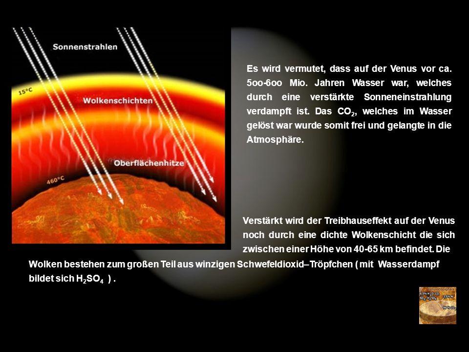 Es wird vermutet, dass auf der Venus vor ca. 5oo-6oo Mio