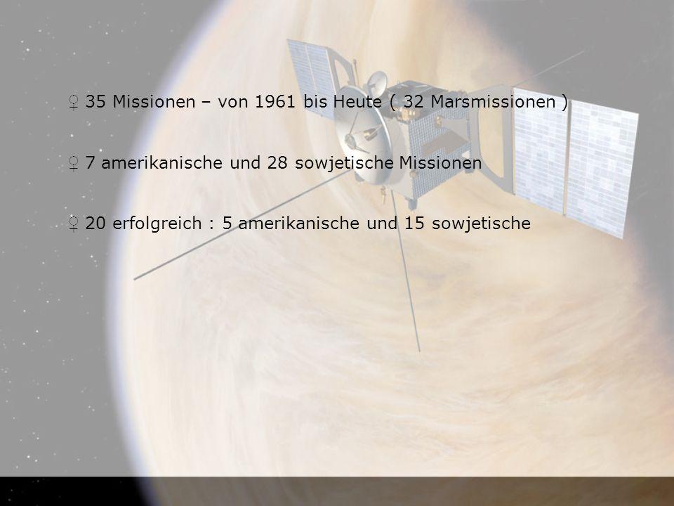 ♀ 35 Missionen – von 1961 bis Heute ( 32 Marsmissionen )