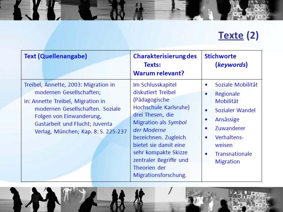 Texte (2) Text (Quellenangabe) Charakterisierung des Texts: