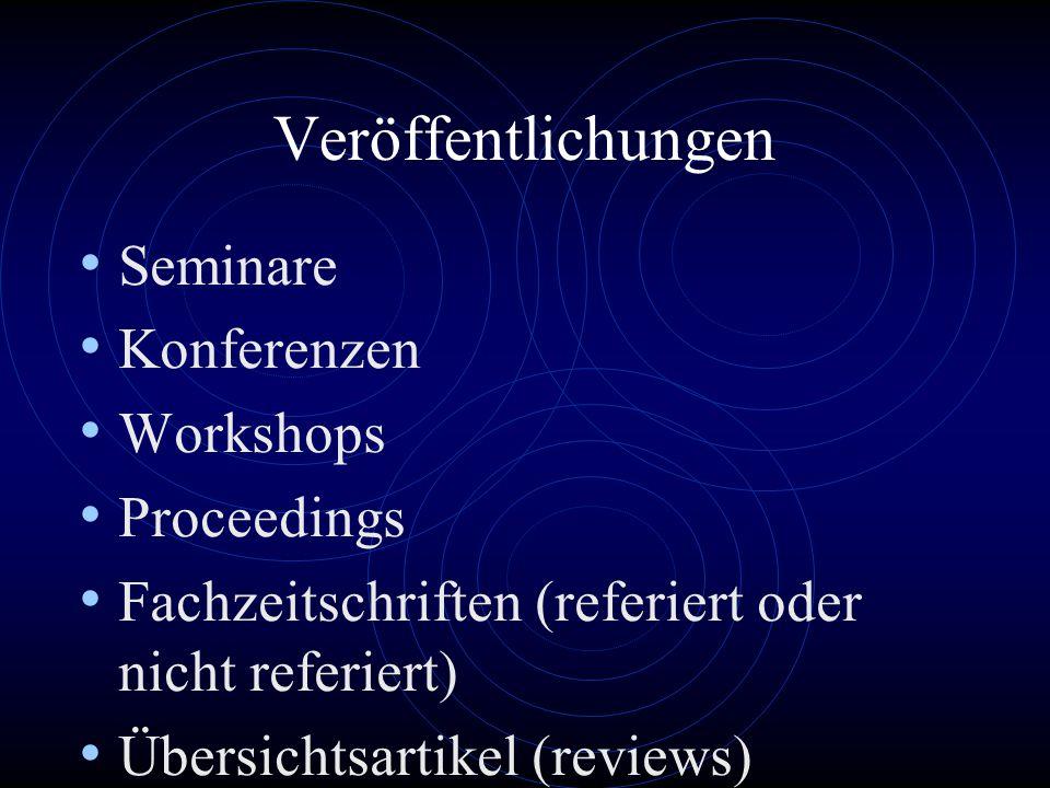 Veröffentlichungen Seminare Konferenzen Workshops Proceedings