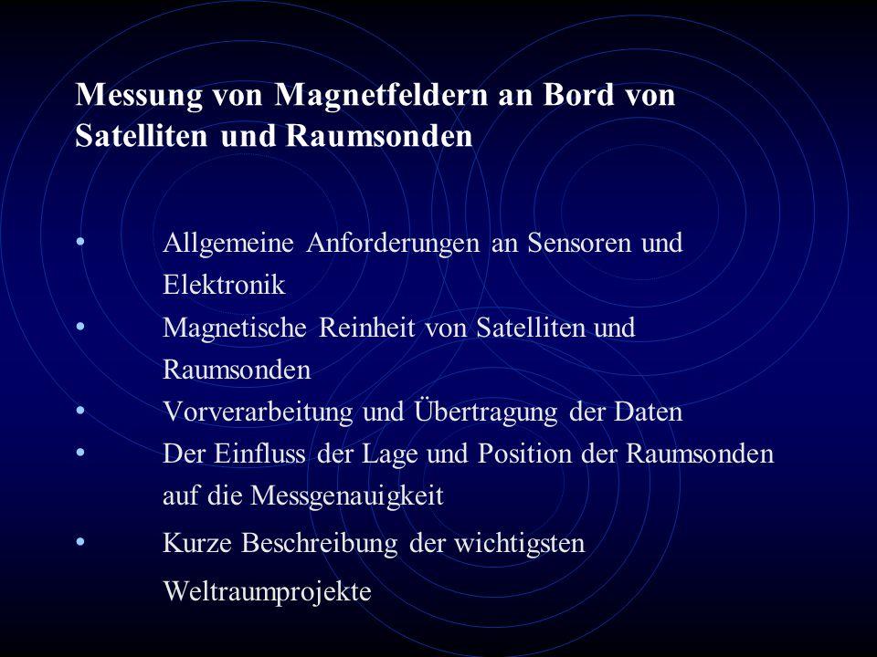Messung von Magnetfeldern an Bord von Satelliten und Raumsonden