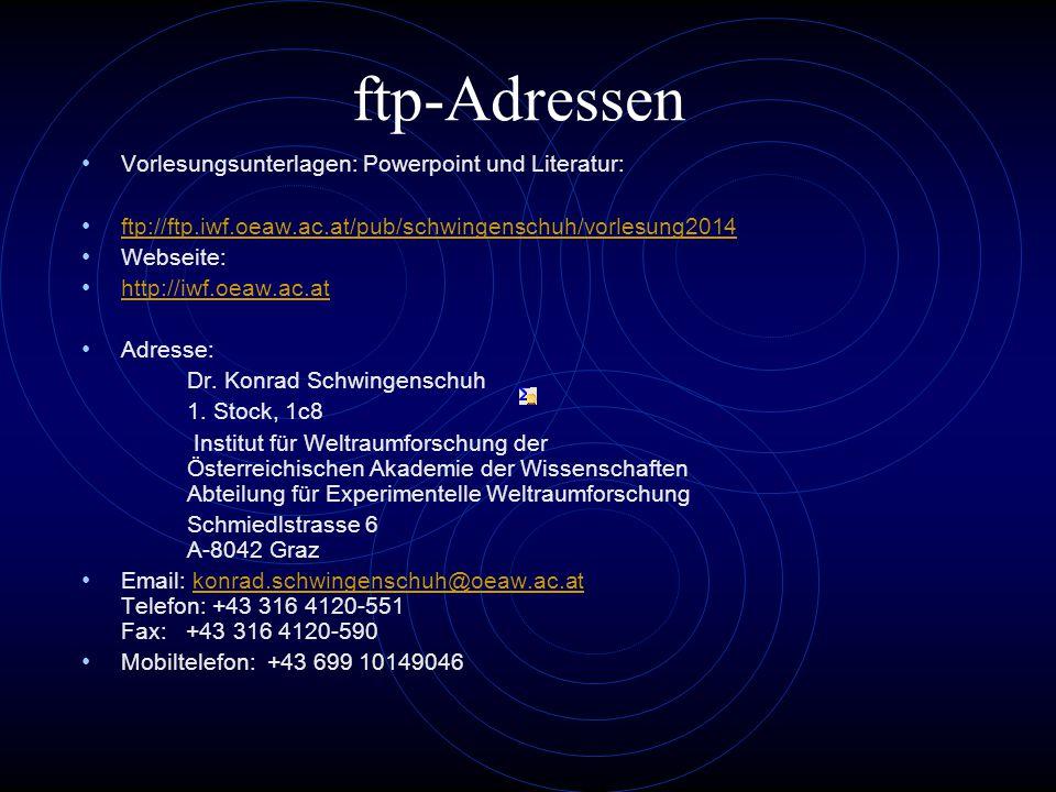 ftp-Adressen Vorlesungsunterlagen: Powerpoint und Literatur: