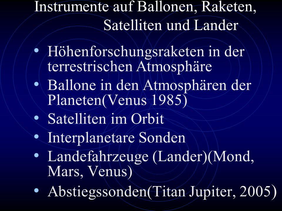 Instrumente auf Ballonen, Raketen, Satelliten und Lander