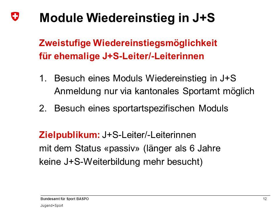 Module Wiedereinstieg in J+S