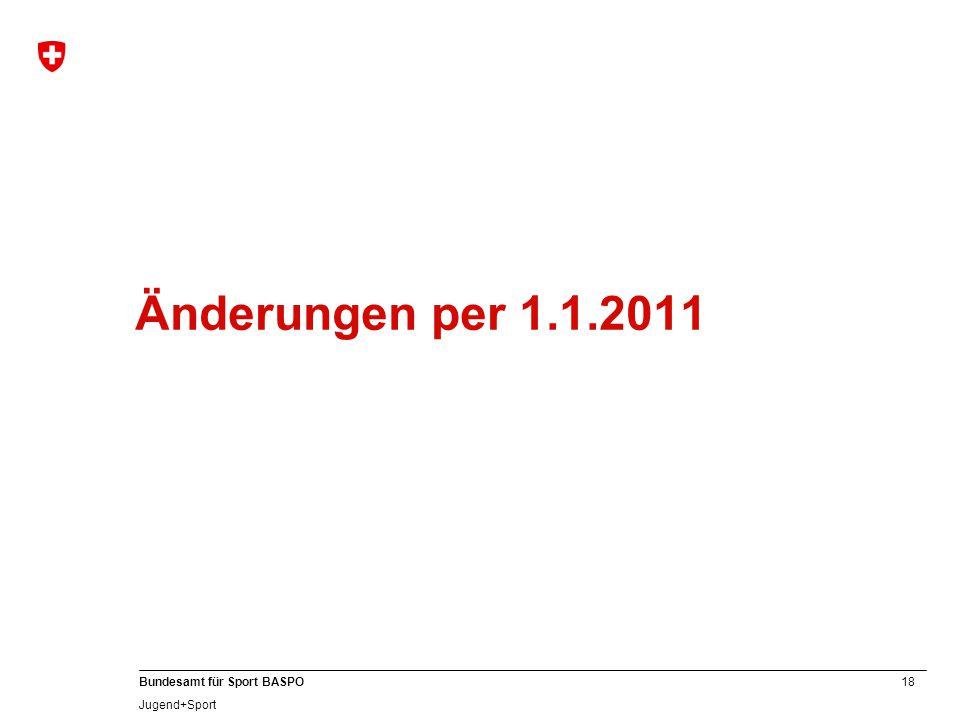 Änderungen per 1.1.2011