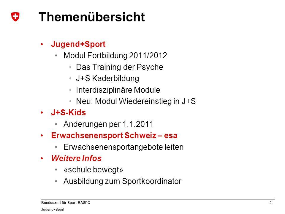 Themenübersicht Jugend+Sport Modul Fortbildung 2011/2012