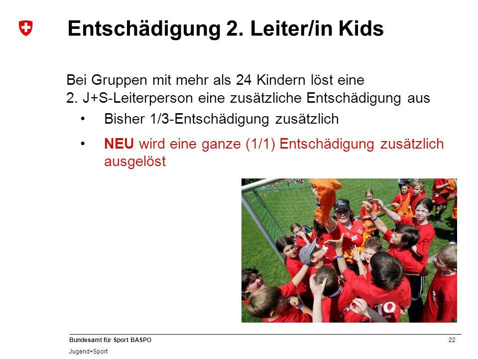 Entschädigung 2. Leiter/in Kids