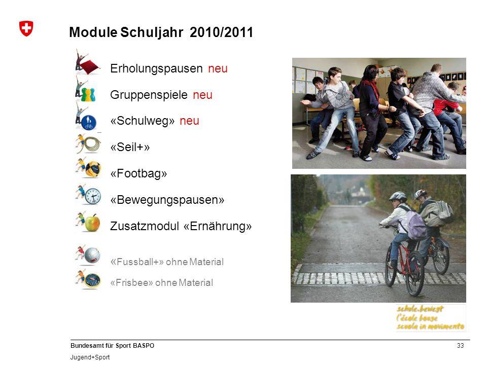 Module Schuljahr 2010/2011 Erholungspausen neu Gruppenspiele neu